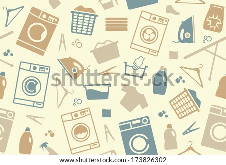 Seamless background of a laundry - stock vector
