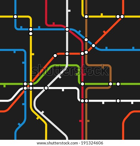 Seamless background of abstract metro scheme - stock vector