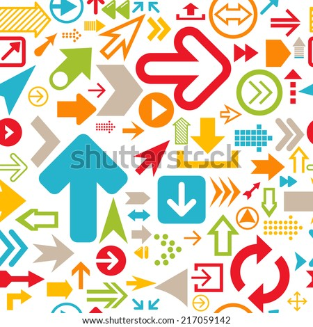 Seamless background of arrows. Icons of arrows. Contemporary modern style. - stock vector
