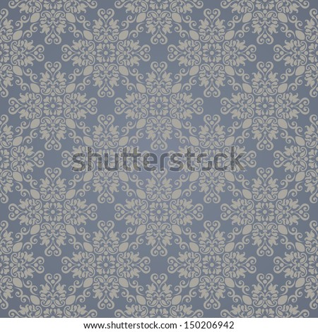 Seamless background of beige and blue color in the style of Damascus  - stock vector