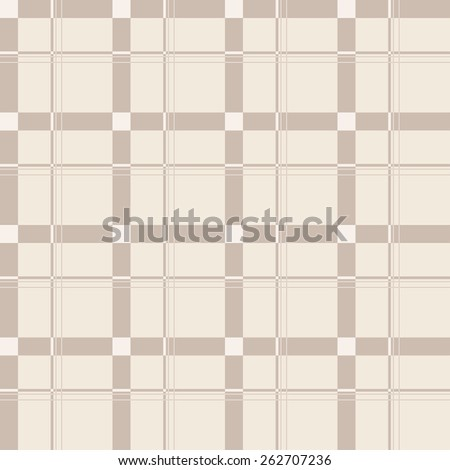 Seamless background of beige plaid pattern, vector illustration - stock vector