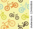 Seamless background of bikes - stock vector