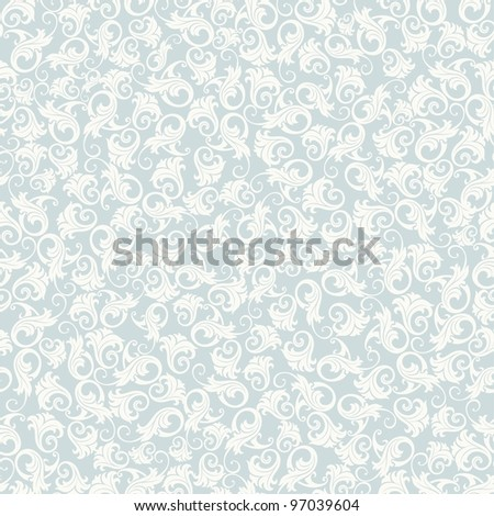 Seamless background of blue damask-style - stock vector