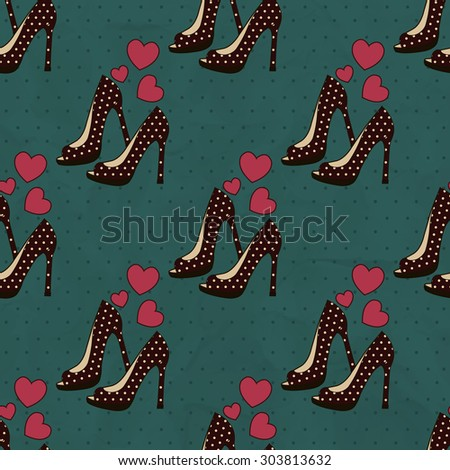 Seamless background of brown shoes with polka dots on a blue background with hearts - stock vector