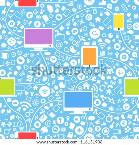 Seamless background of color modern gadgets and media icons - stock vector