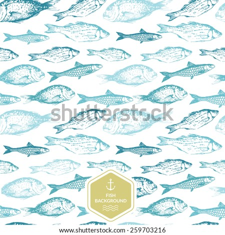 Seamless background of drawn sketches of fish. Blue & green hand-drawn illustration. - stock vector