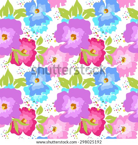 Seamless background of flowers - stock vector