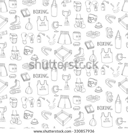Seamless background of Hand drawn doodle boxing set Vector illustration Sketchy sport related icons boxing elements, boxing uniform, gloves, shoes, helmet, boxing ring, belt trophy  martial art combat - stock vector