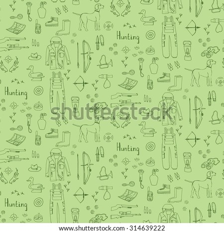 Seamless background of hand drawn doodle hunting set Vector illustration Sketchy hunt related icons, hunting elements, dog, gun, crossbow, hunting wear cloths, boots, plastic sitting duck, binoculars - stock vector