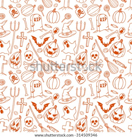 seamless background of holiday halloween symbols. hand-drawn illustration - stock vector