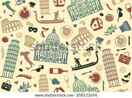 Seamless background of Italy - stock vector