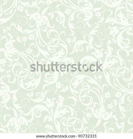 Seamless background of light green color in the style of Damascus - stock vector