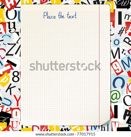 Seamless background of magazine`s and newspaper`s letters - stock vector