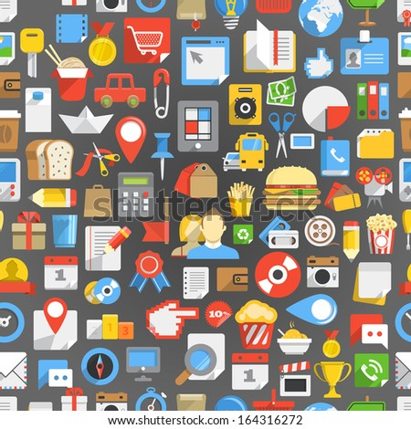 Seamless background of many interface icons - stock vector