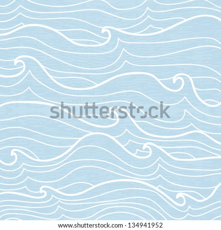 Seamless background of open sea with waves, vector illustration - stock vector