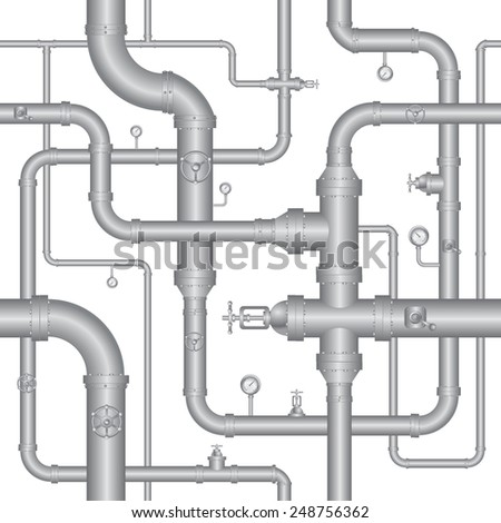 Seamless background of pipeline - stock vector