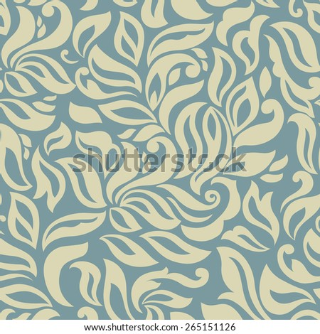 Seamless background of retro blue color, abstract floral template for your design - stock vector