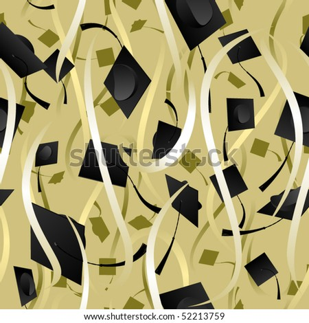 Seamless background of ribbons and graduation caps - stock vector
