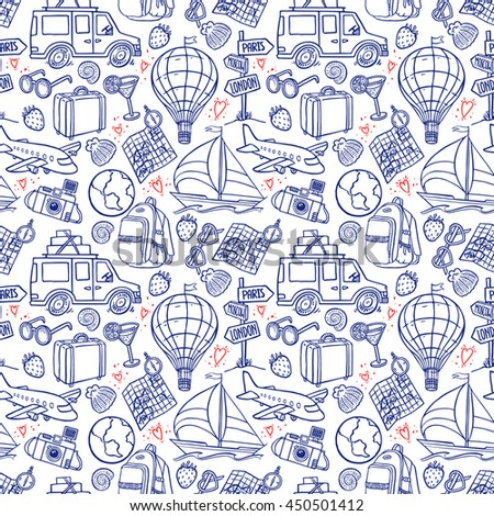 seamless background of travel icons. airplane, car, ship. hand-drawn illustration