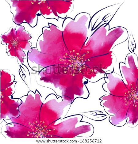 seamless background of watercolor flowers. Vector - stock vector