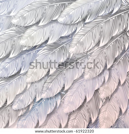 Seamless background of white feathers, close up. Vector illustration. - stock vector