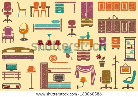 Seamless background on a furniture theme - stock vector