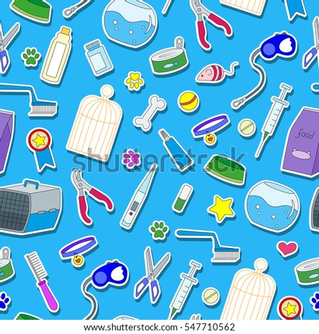 Seamless background on the topic of pet care, pet shop, simple colored icons on a blue background