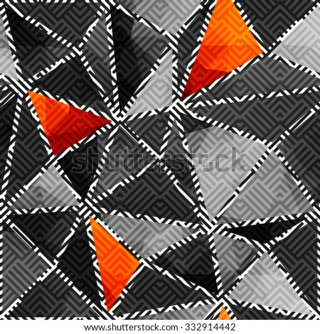 Seamless background pattern. Abstract gray geometric pattern of triangles. - stock vector