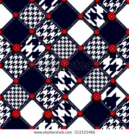 Seamless background pattern. Abstract hound-tooth geometric pattern.  - stock vector