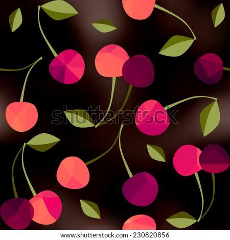 Seamless background pattern. Cherry on black blur background. - stock vector