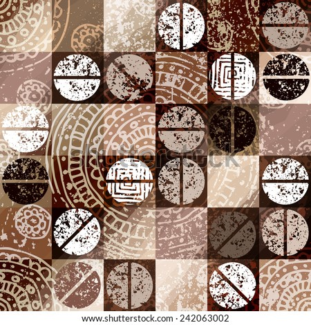 Seamless background pattern. Coffee background with grunge elements. - stock vector
