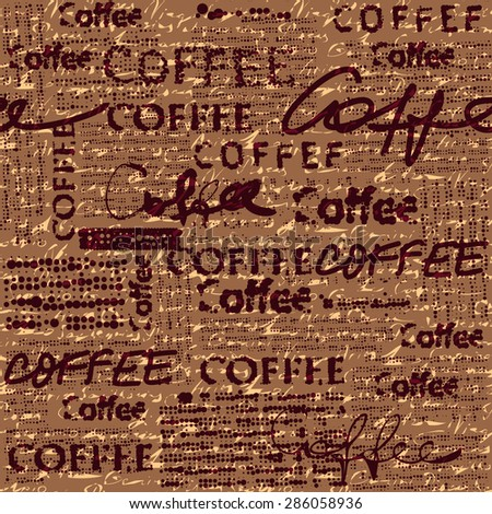 Seamless background pattern. Coffee pattern for menu design. Imitation of newspaper. Text is unreadable. - stock vector