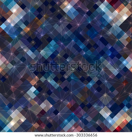 Seamless background pattern. Diagonal geometric pattern with luminous elements. - stock vector