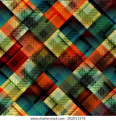 Seamless background pattern. Diagonal plaid with relief effect. - stock vector