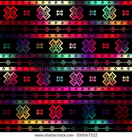 Seamless background pattern. Ethnic geometric ornament on black background. - stock vector