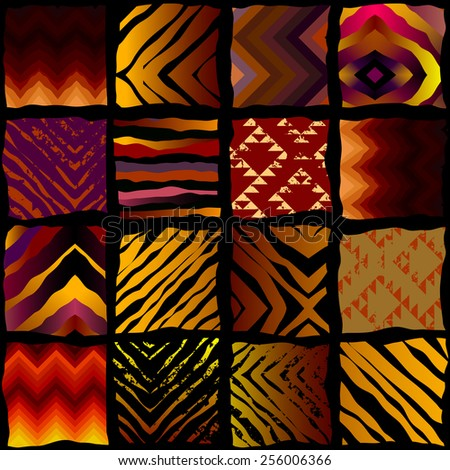 Seamless background pattern. Exotic pattern in patchwork style. - stock vector
