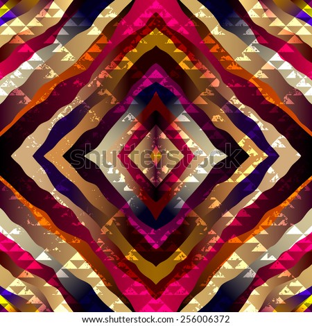 Seamless background pattern. Exotic symmetric pattern with grunge triangles elements. - stock vector