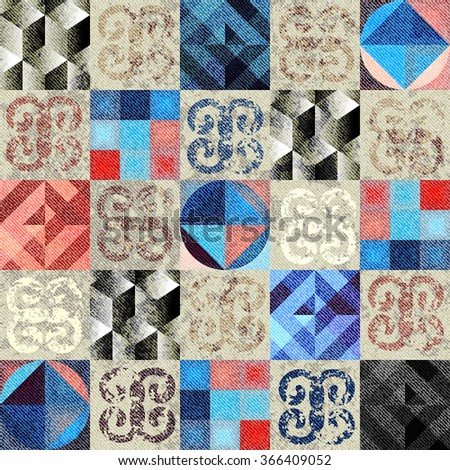 Seamless background pattern. Geometric pattern squared pattern in a grunge style.. - stock vector