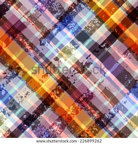 Seamless background pattern. Grunge diagonal plaid pattern. - stock vector