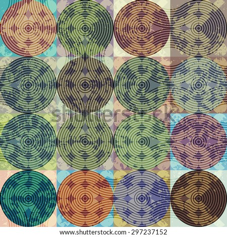 Seamless background pattern. Grunge geometric pattern of squares and circles. - stock vector