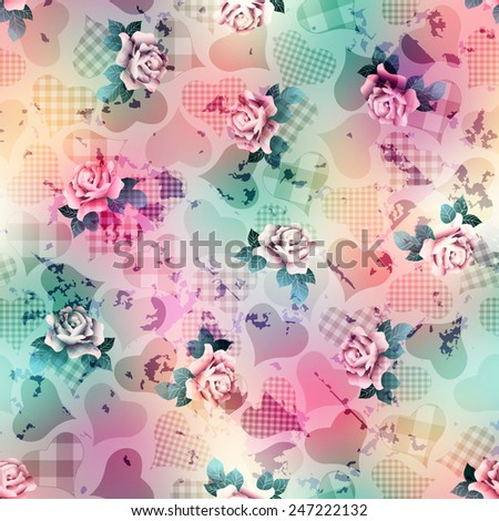 Seamless background pattern. Hearts and roses vintage pattern on grunge blurred background. - stock vector