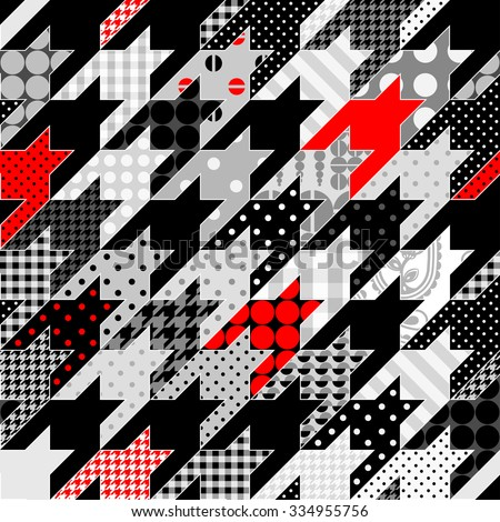 Seamless background pattern. Hounds-tooth geometric pattern in patchwork style. - stock vector