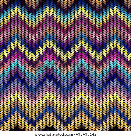 Seamless background pattern imitation of multicolored knitting - stock vector