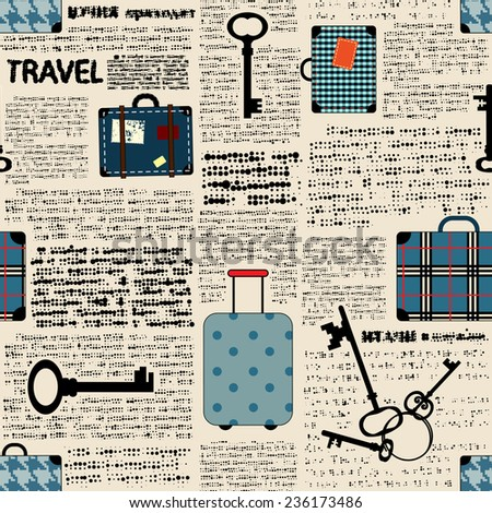 Seamless background pattern. Imitation of newspaper with suitcases and word travel. - stock vector