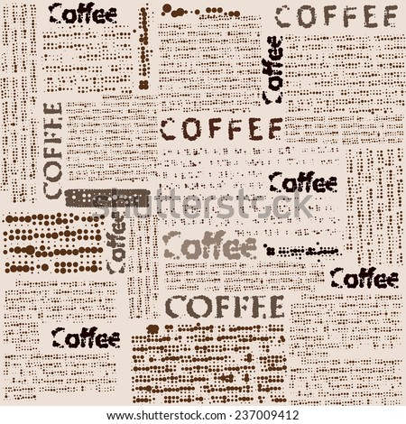 Seamless background pattern. Imitation of newspaper with the inscription coffee.