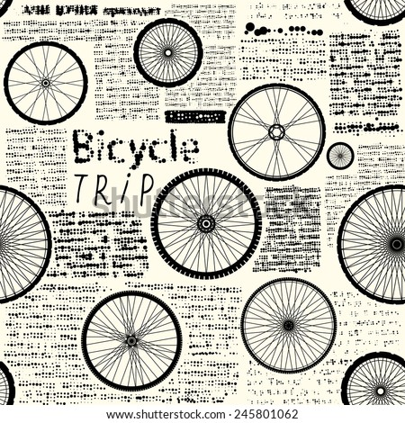 Seamless background pattern. Imitation of newspaper with words Bicycle trip. Text is unreadable. - stock vector