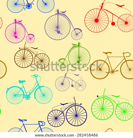 Seamless background pattern. Imitation of newspaper with words Bicycle trip. Vector Color - stock vector