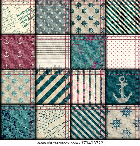 Seamless background pattern. Nautical patchwork with grunge effect. - stock vector
