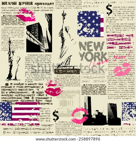 Seamless background pattern. Newspaper New York with the sketch of statue of Liberty. Text is unreadable. - stock vector