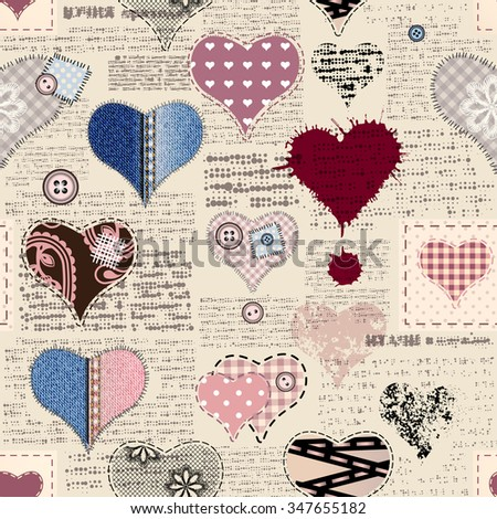 Seamless background pattern. Newspaper with a hearts in scrapbook style. - stock vector